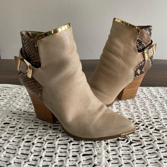 Aldo gold rimmed snake print ankle boots